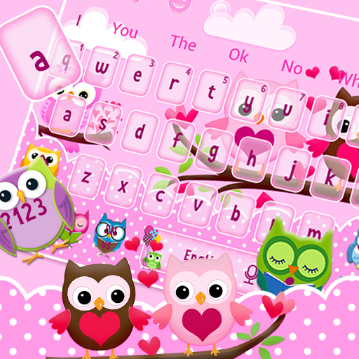 Cute Pink Lovely Owl Keyboard Theme
