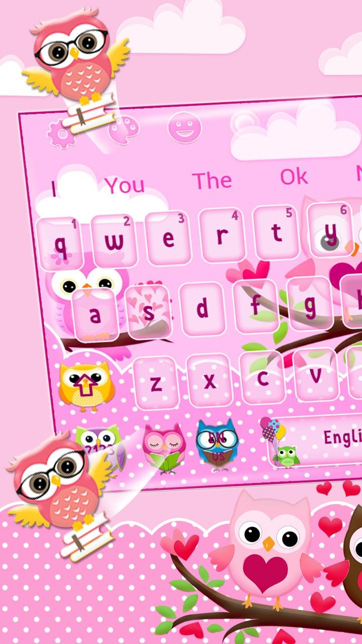 Cute Pink Lovely Owl Keyboard Theme