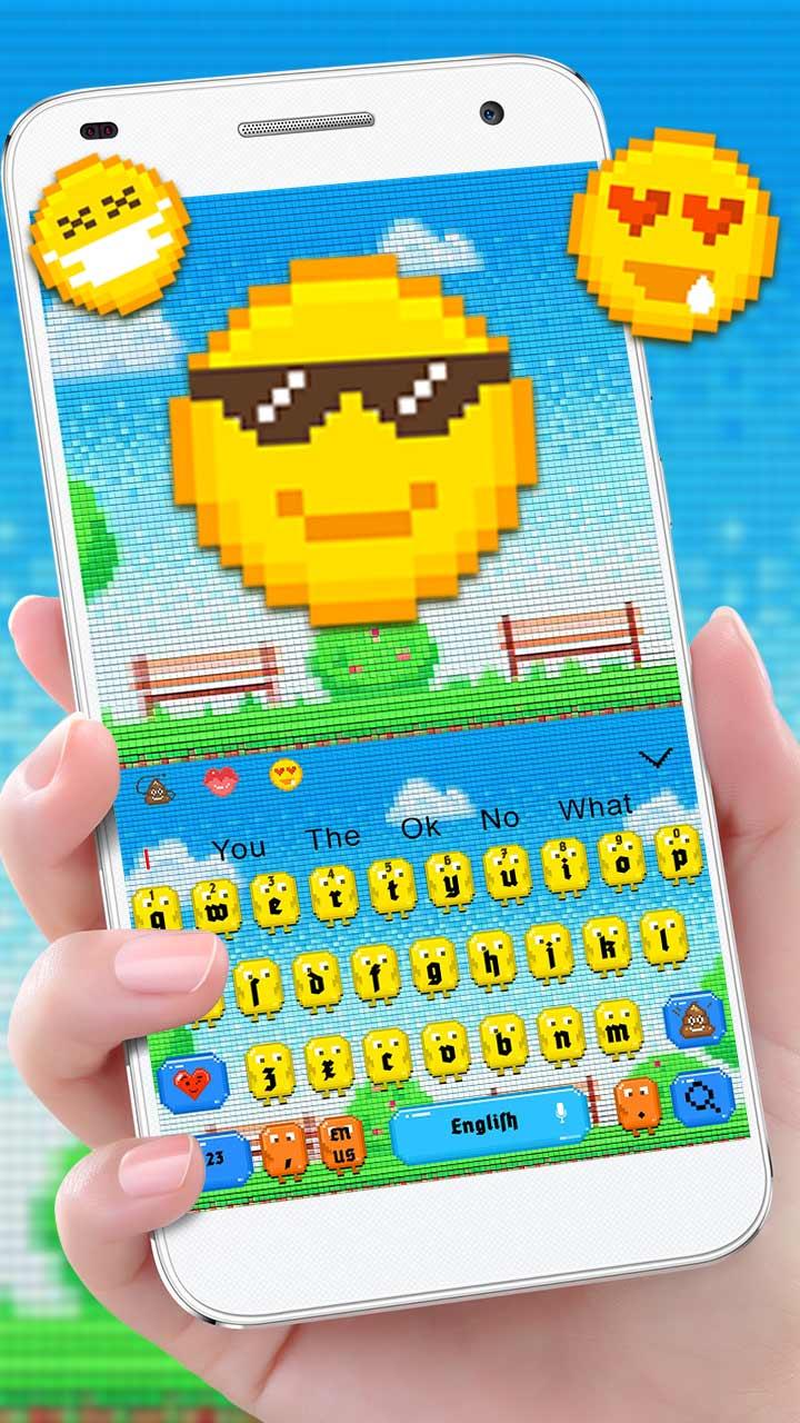 Cute Pixel Emoji Keyboard Theme