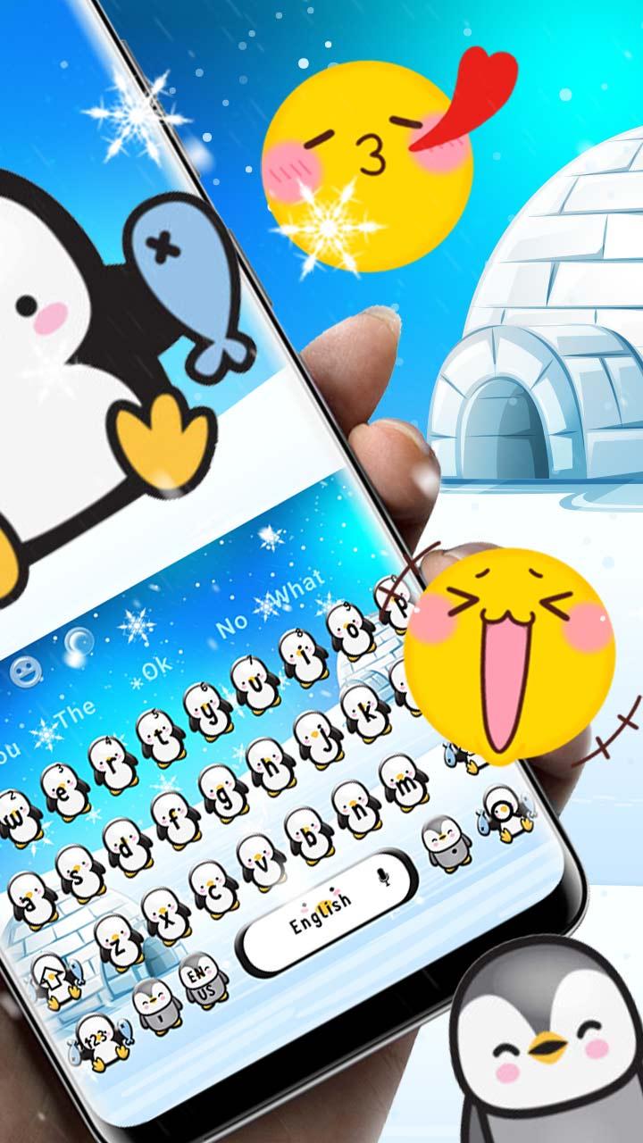 Cute Snow Penguin Keyboard Theme