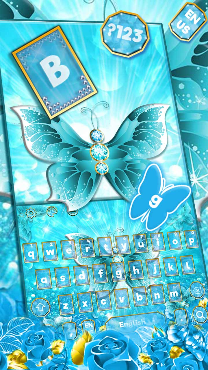 Glitter Blue Rose Butterfly Love Keyboard