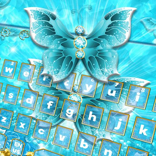 Glitter Blue Rose Butterfly Love Keyboard