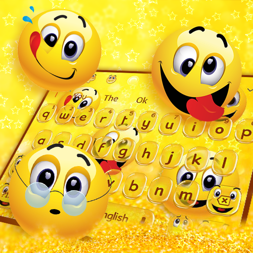 Glitter Cute Face Emoji Keyboard Theme