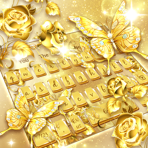 Golden Glittering Rose Butterfly Keyboard