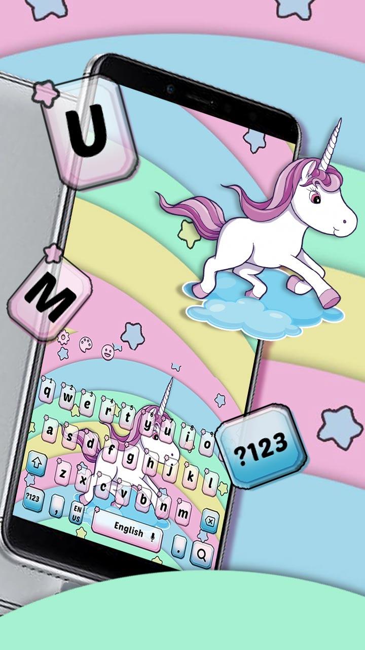 Lovely Colorful Rainbow Unicorn Keyboard