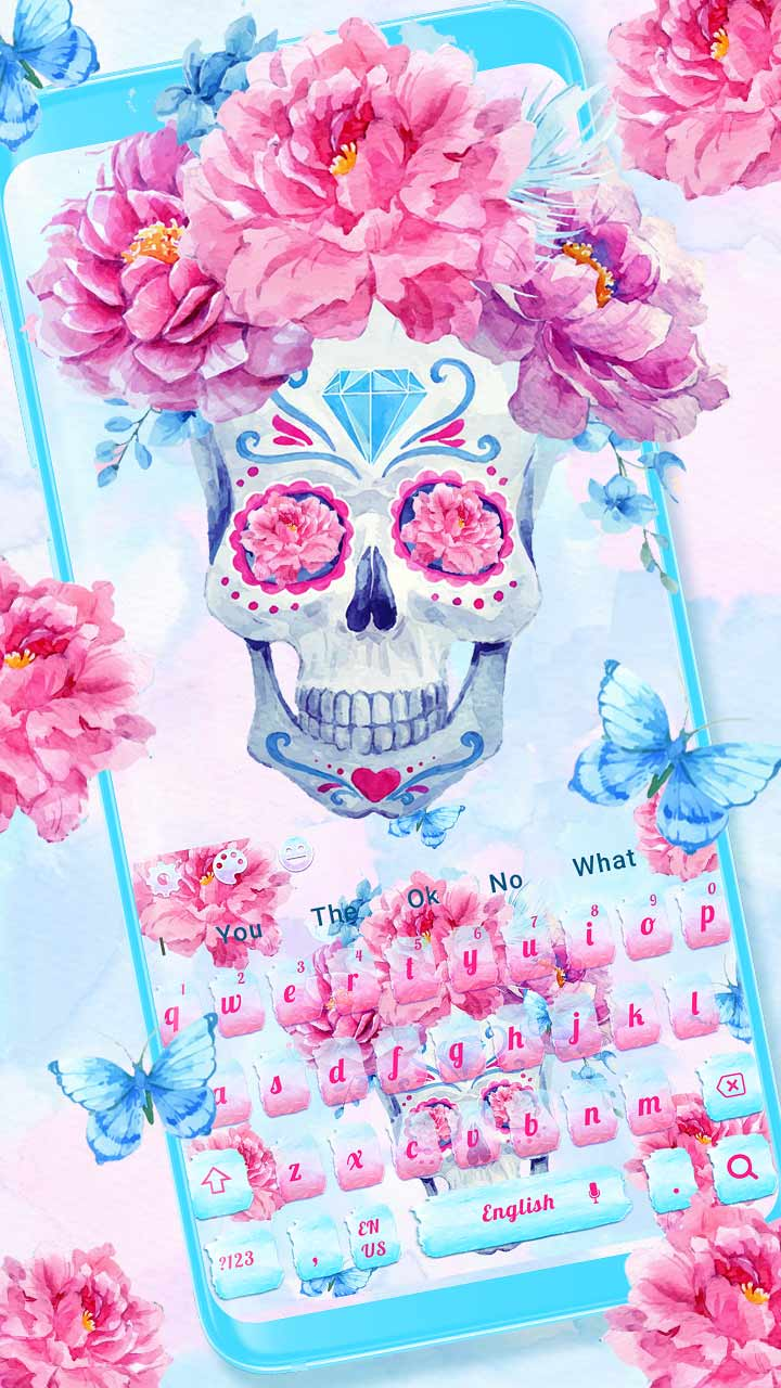 Lovely Pink Flower Skull Keyboard