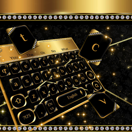 Luxury Black Gold Metal Keyboard