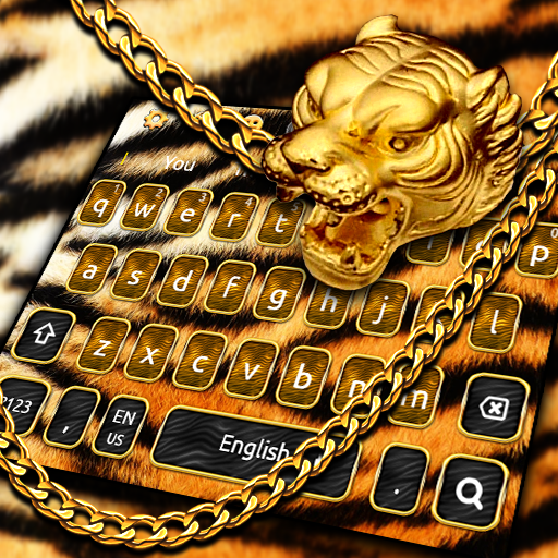 Luxury Golden Tiger Keyboard Theme