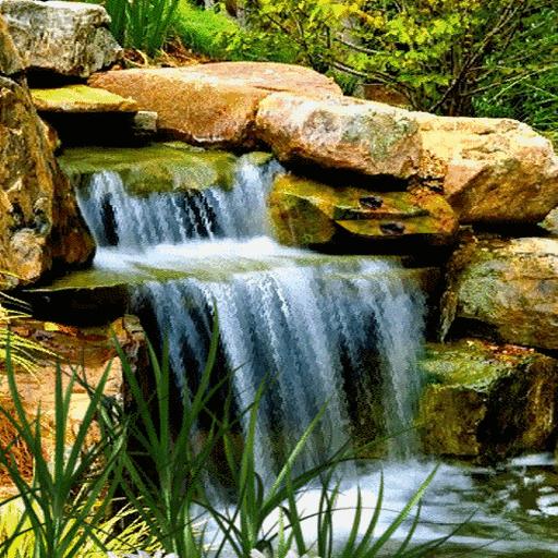 Nature Rocky Waterfall LWP