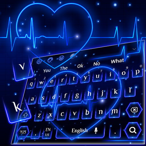 Neon Blue Love heart Keyboard Theme