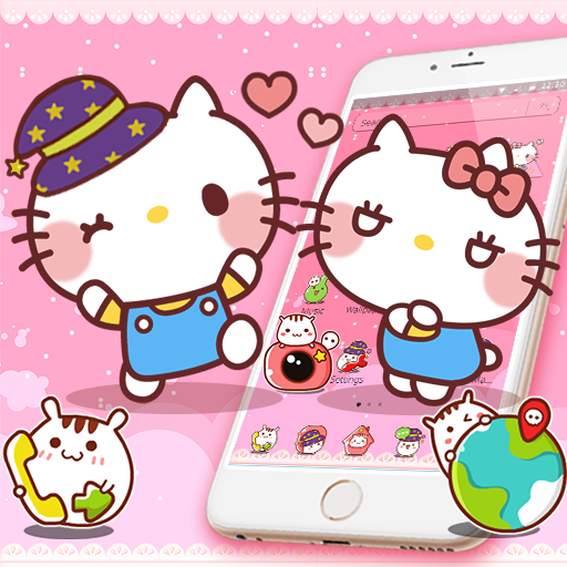 Pink Cute Kawaii Cat Lovely Theme