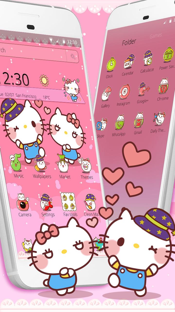 Pink Cute Kawaii Cat Lovely Theme