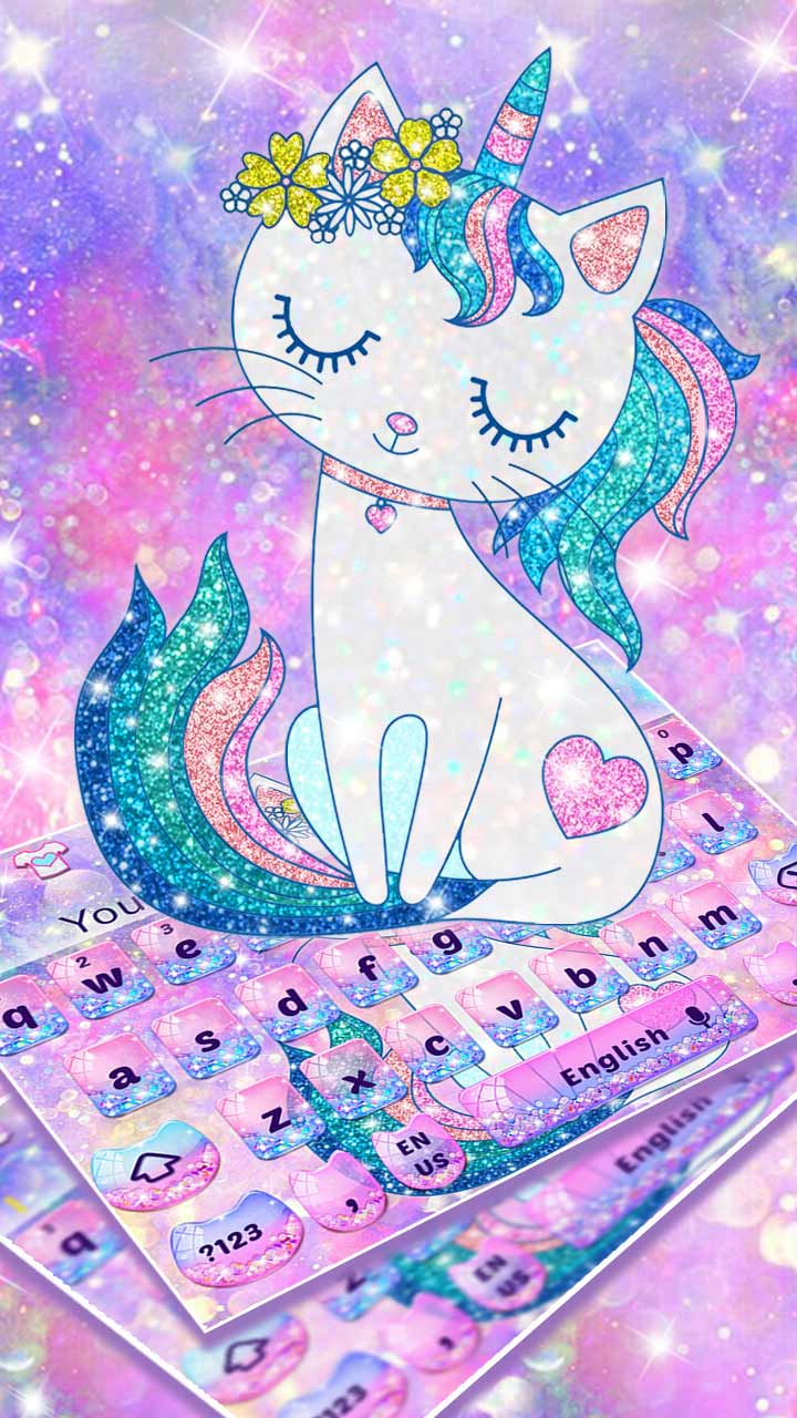 Pink Glitter Unicorn Cat Keyboard
