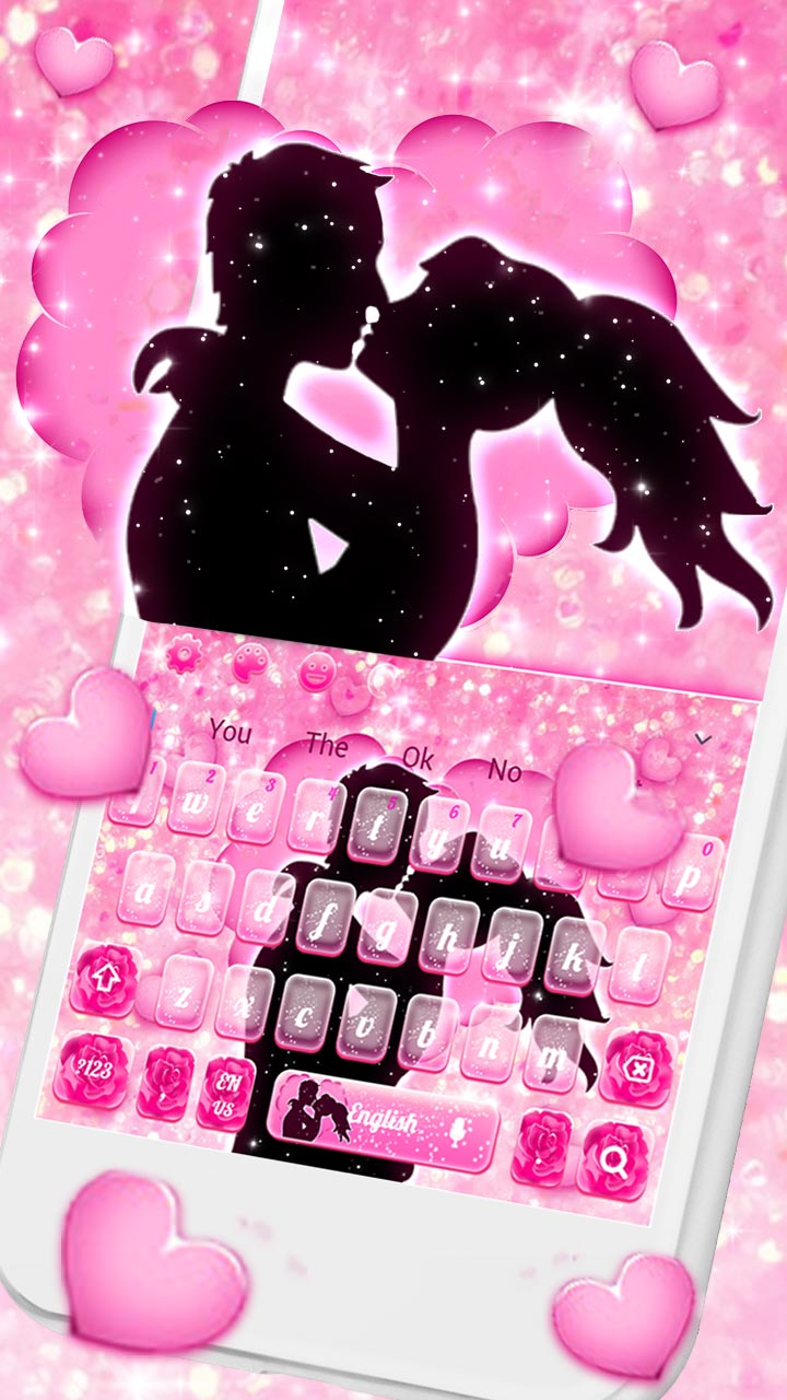 Pink Love Couple Heart Rose Keyboard