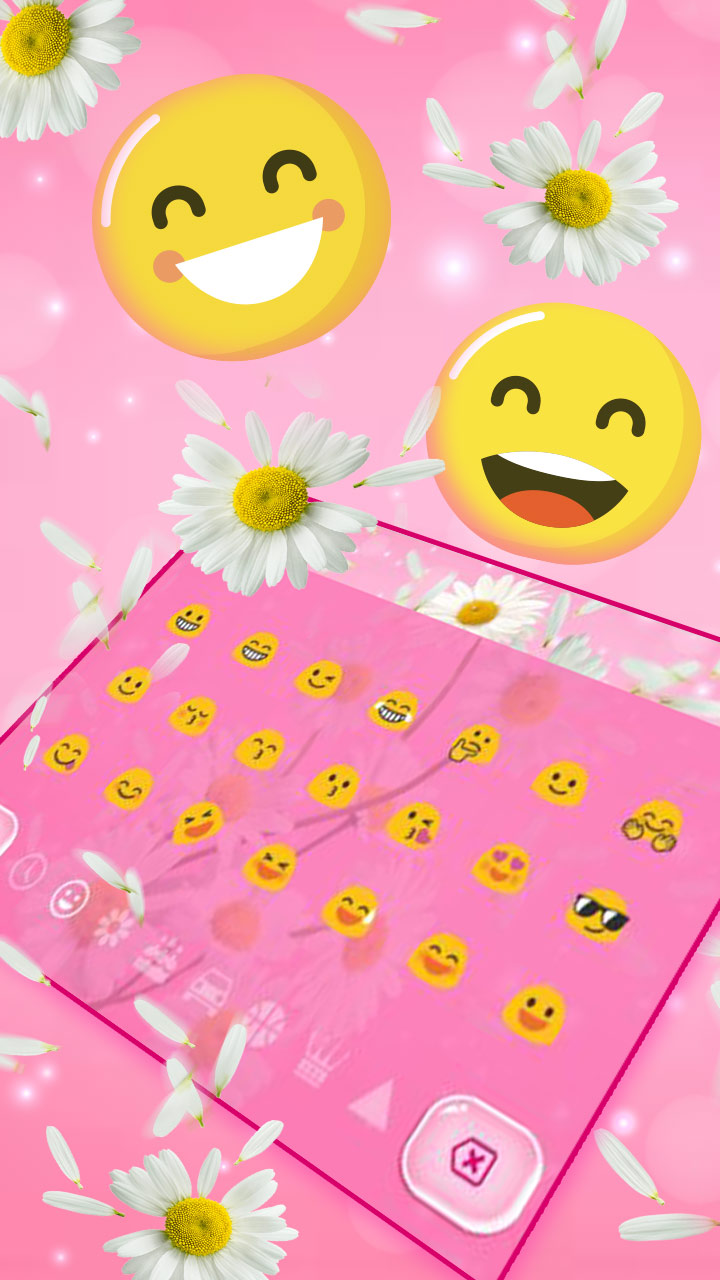Pink Lovely Daisy Keyboard Theme