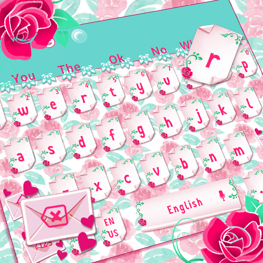 Pink Rose Love Letter Keyboard Theme