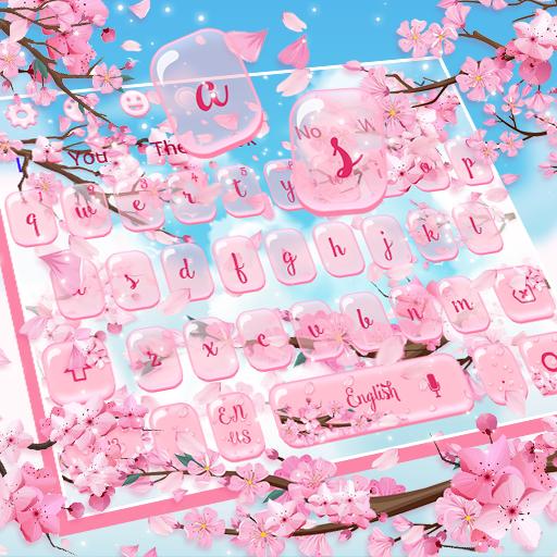 Pink Sakura Blossom Flower Keyboard
