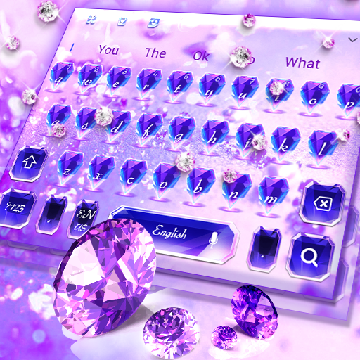 Purple Diamond Lovely Glitter Keyboard