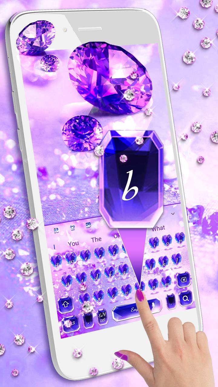 Purple Diamond Lovely Glitter Keyboard