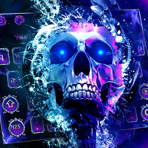 Sparkling Neon Blue Skull Keyboard