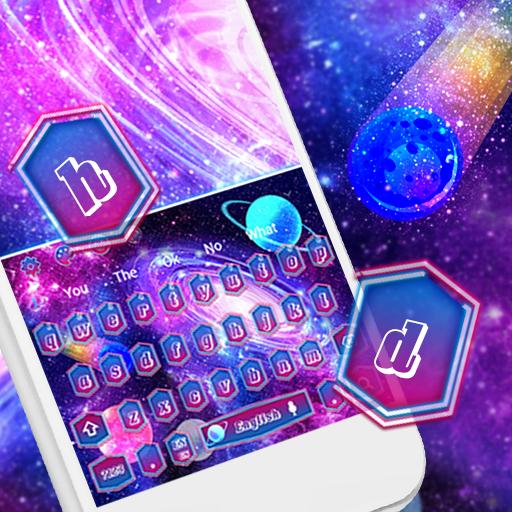 Sparkling Neon Galaxy Keyboard Theme