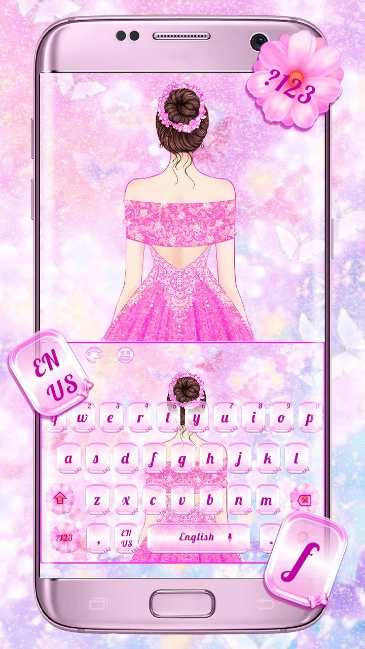 Sweet Lovely Pink Dress Girl Keyboard