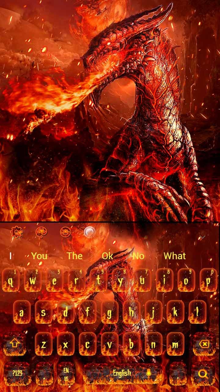 War Of Red Fire Dragon Keyboard Theme