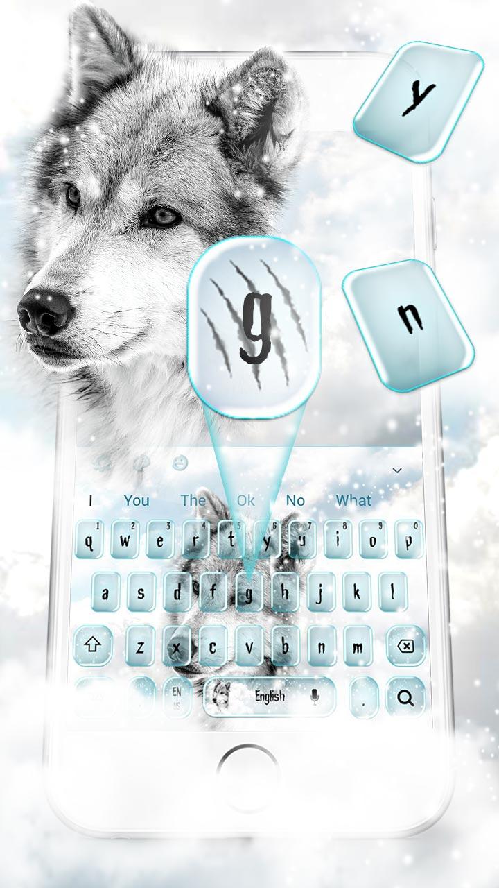 White Snow Wolf Keyboard Theme
