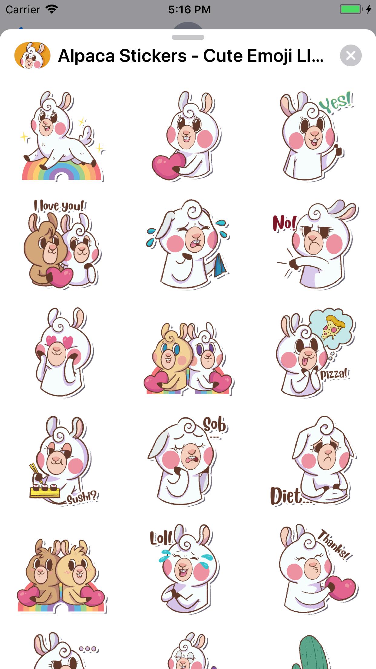 Alpaca Stickers - Emoji Llama