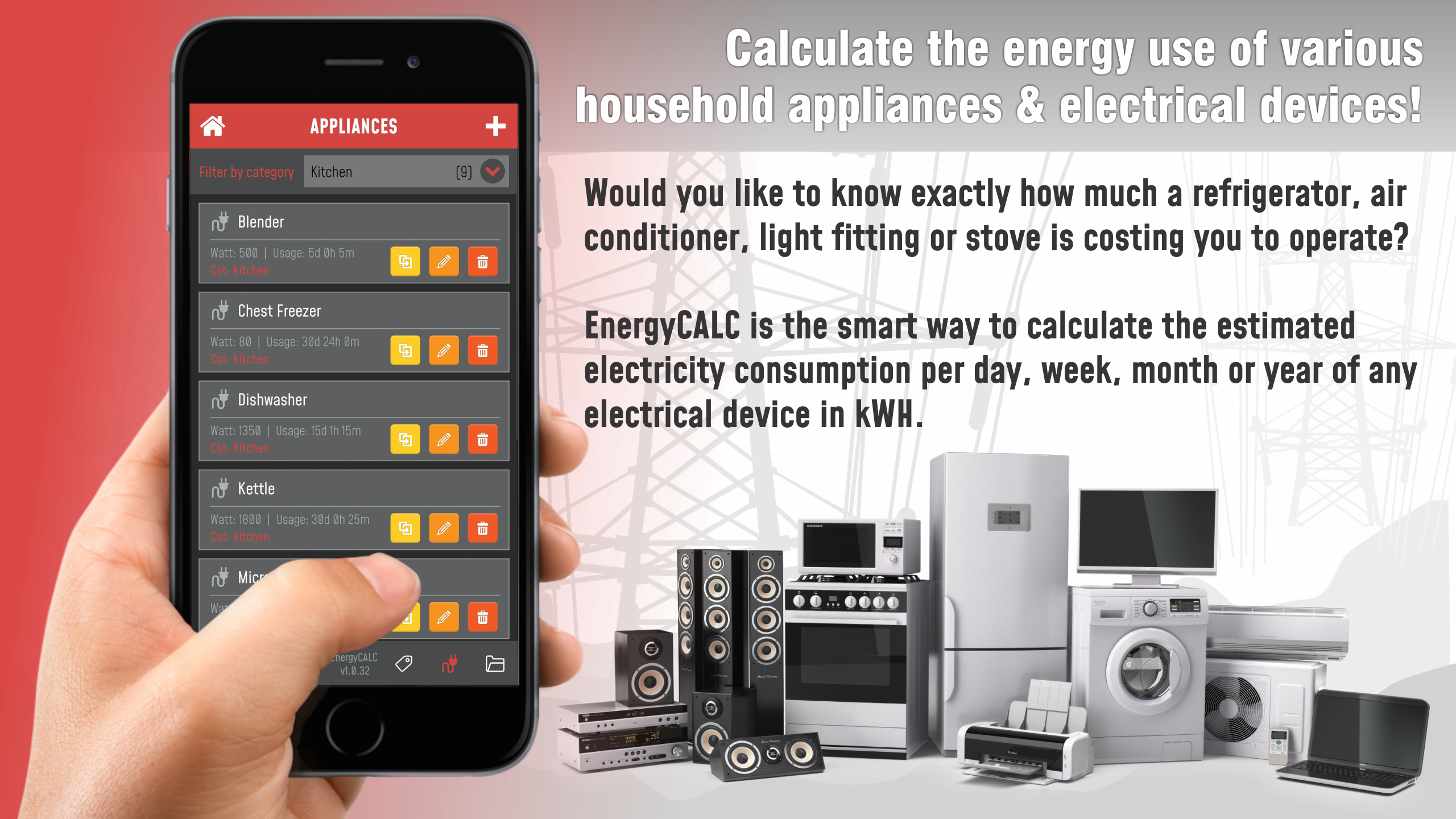 EnergyCALC - Energy consumption & cost calculator