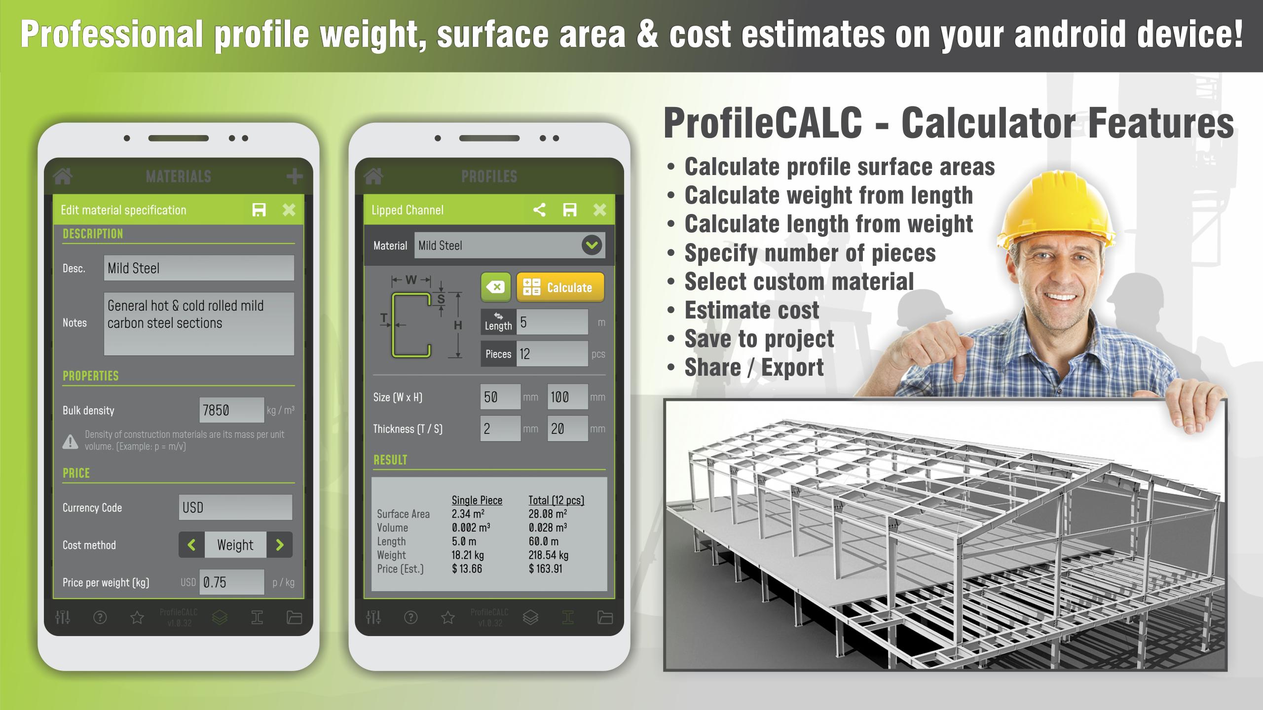 ProfileCALC – Profile weight & surface calculator